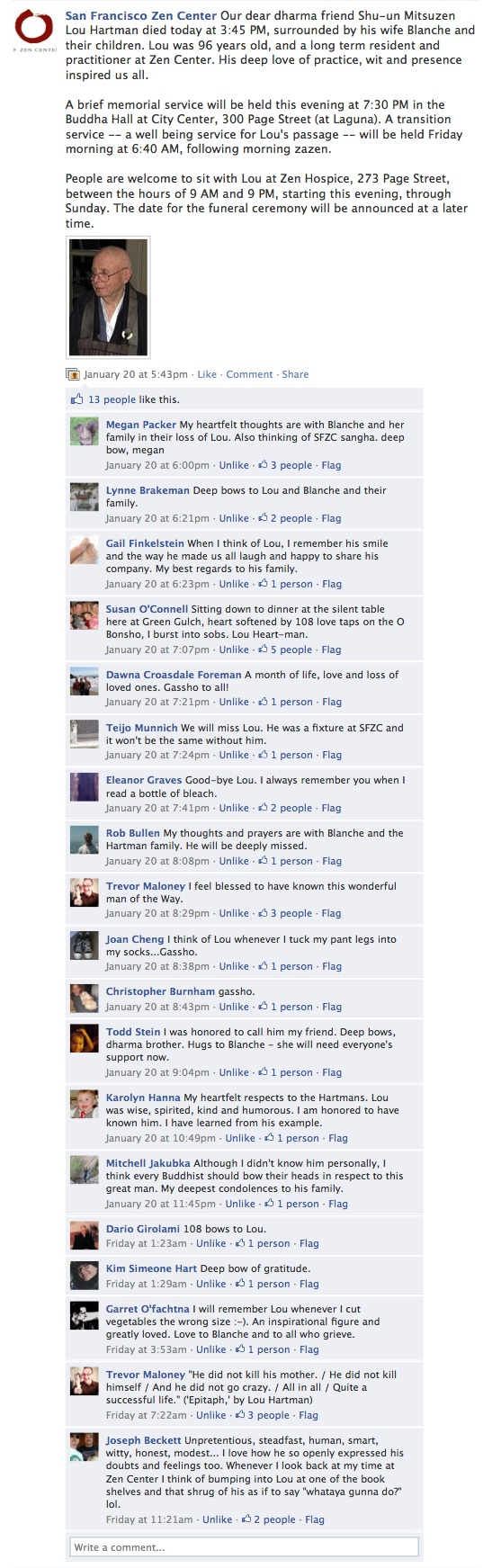 Screenshot of Facebook posting announcing Lou's death, with commentary from visitors.