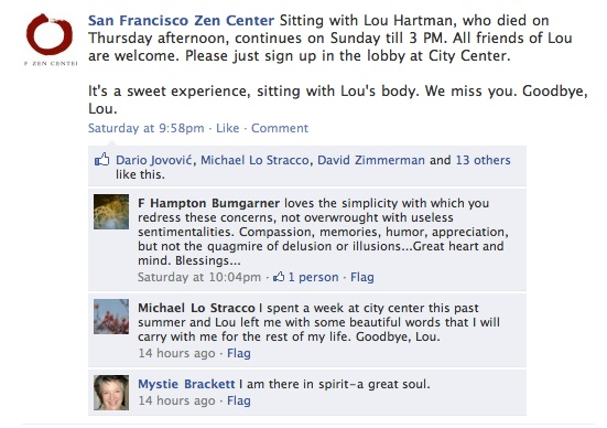 Screengrab of Facebook posting about sitting with Lou at Zen Hospice